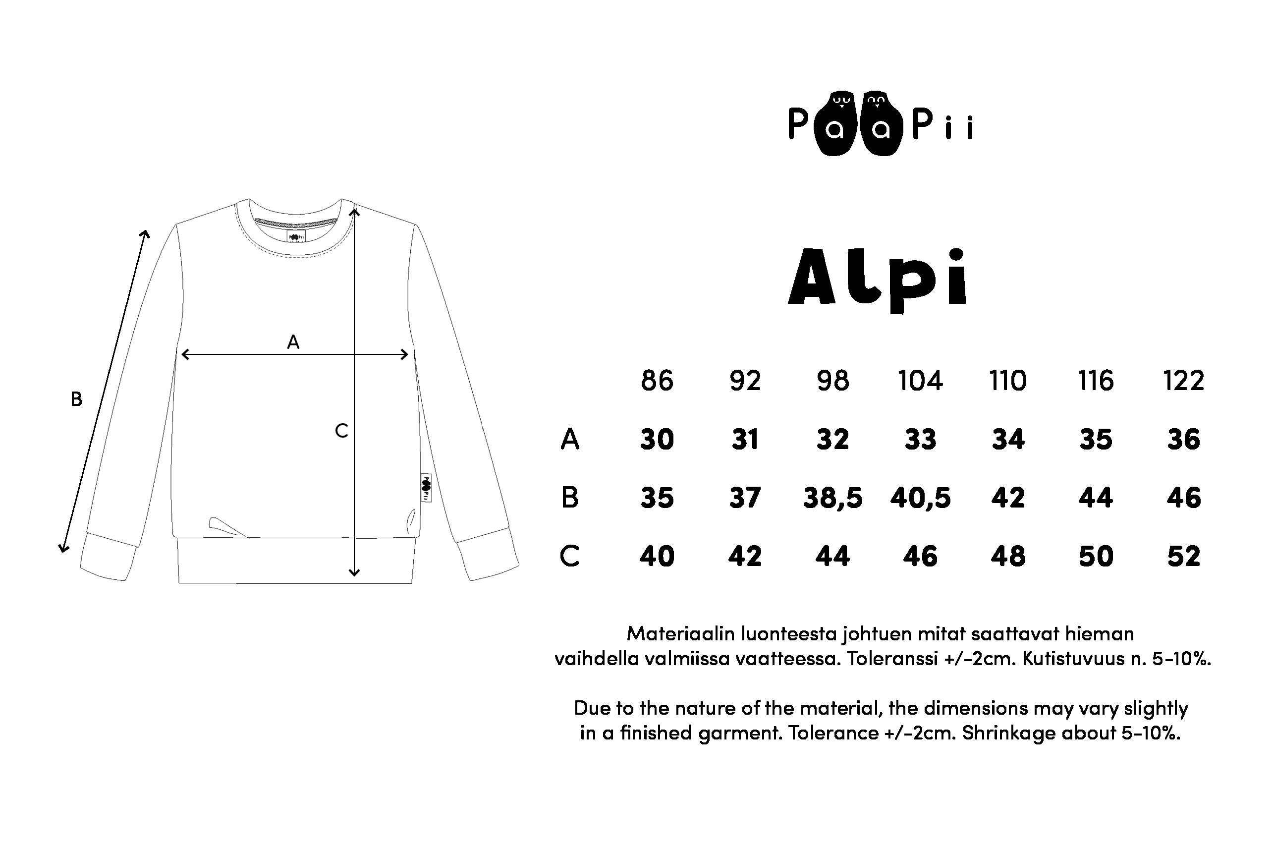 ALPI paita,  Pesukarhu