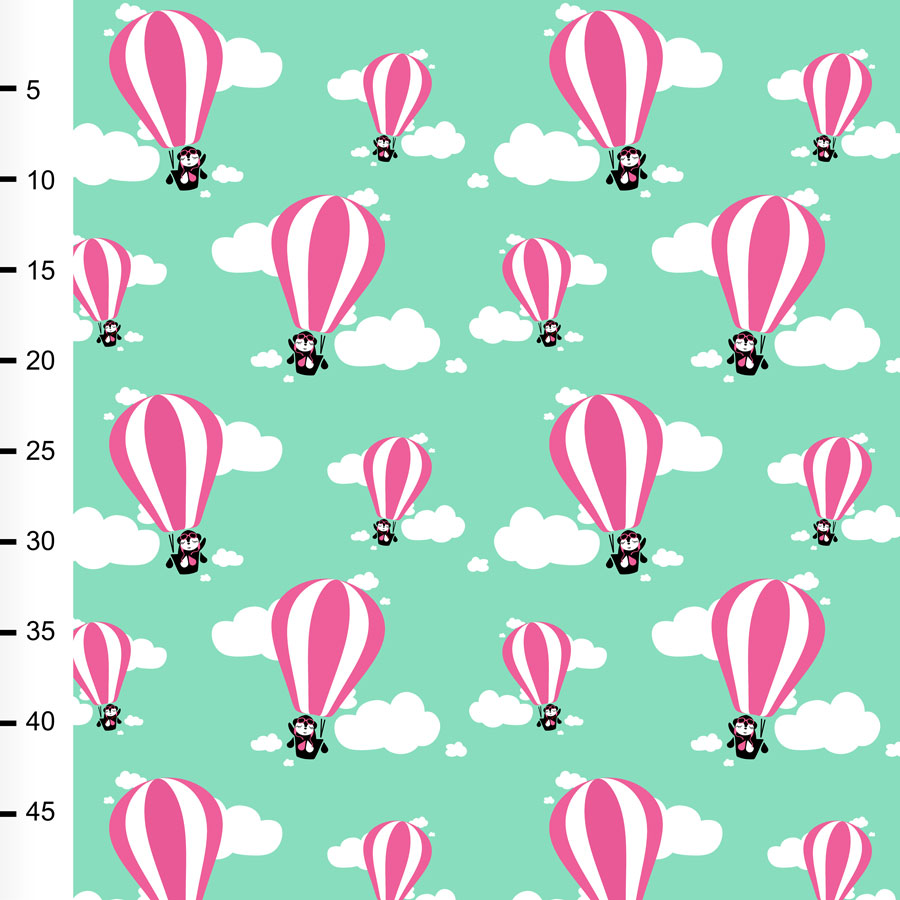 Hot air balloons organic jersey, mint - pink