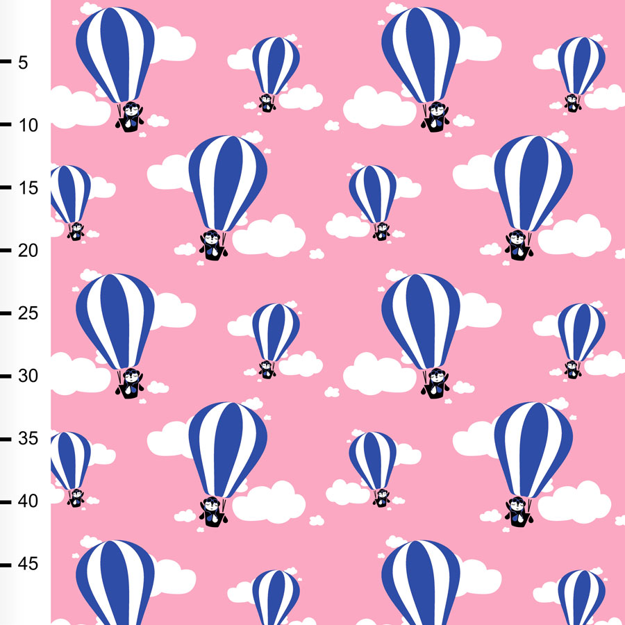 Hot air balloons organic jersey, light pink - blue