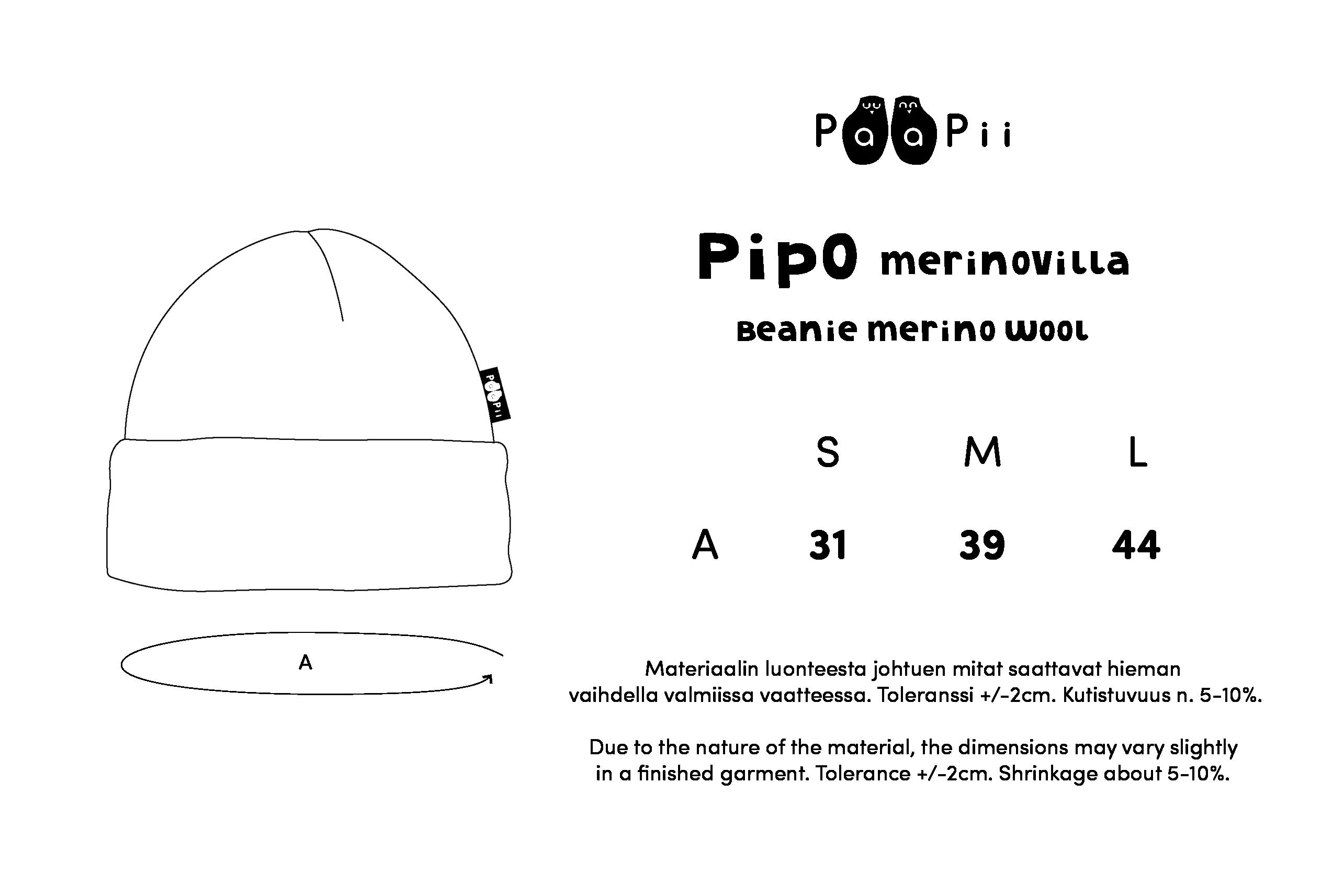 PIPO - merinovilla, musta - luonnonvalkoinen
