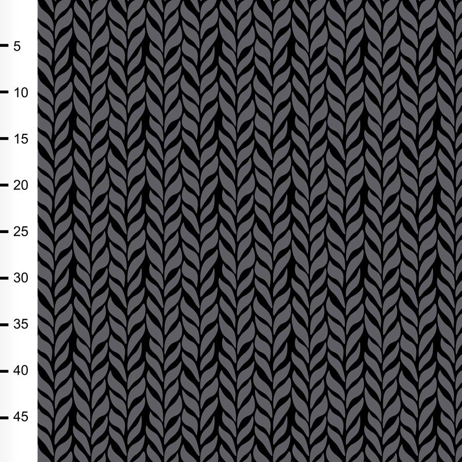 Palmikko trikoo, tummanharmaa - musta