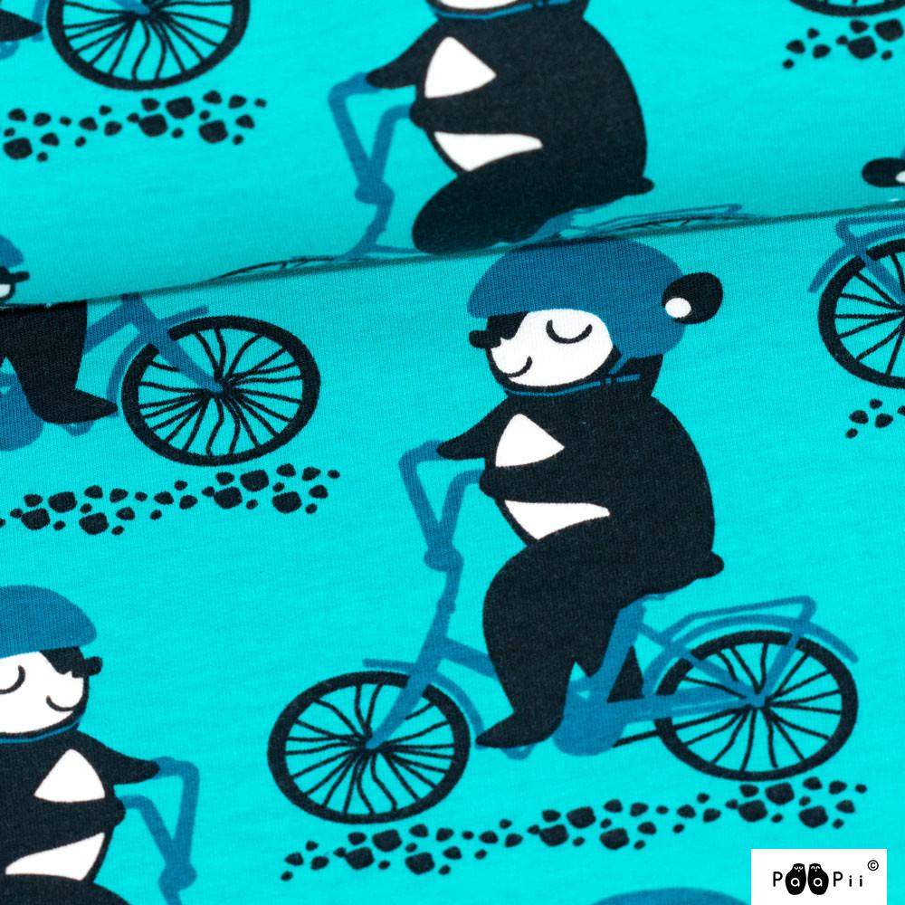 Into the Cyclist organic sweatshirt knit, turquoise - petrol