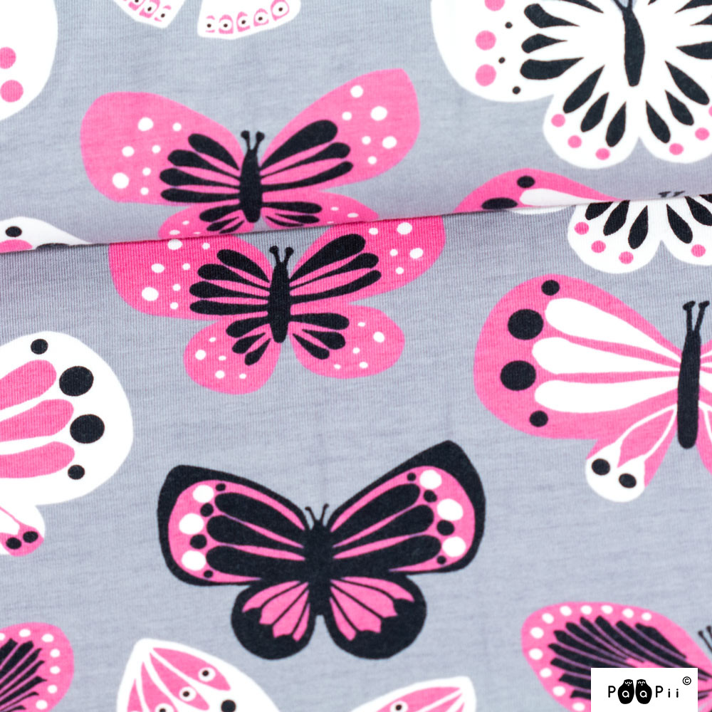Perhoset trikoo, harmaa - pinkki