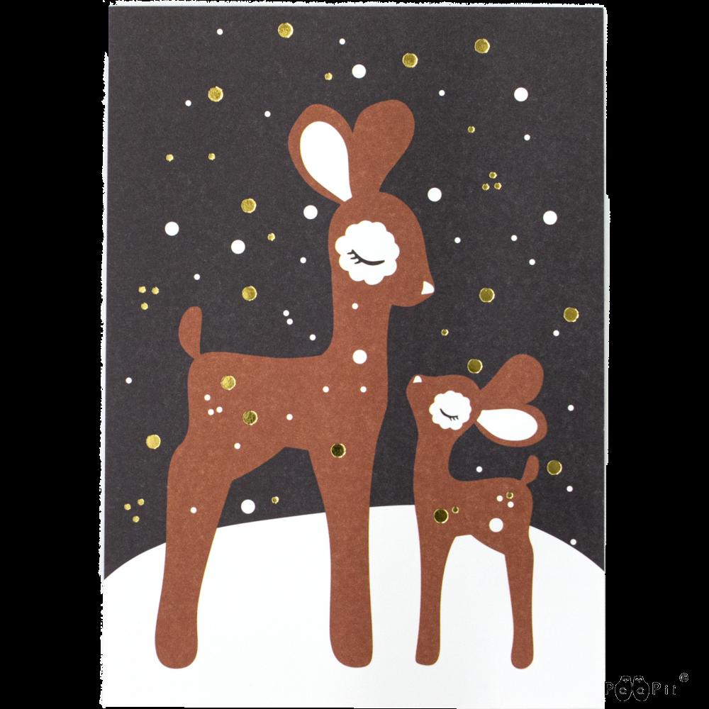 Postikortti,  Bambit lumella