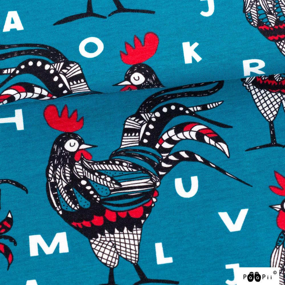 Rooster trikoo, petrooli - punainen