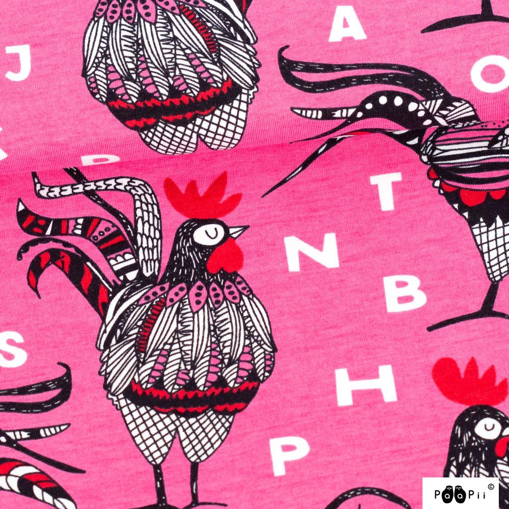 Rooster trikoo, pinkki - punainen