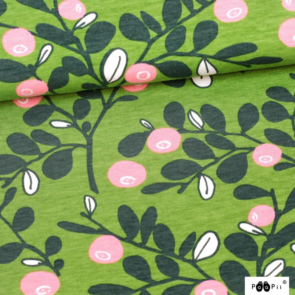 Varpu trikoo, metsä - vaaleanpunainen - tummanvihreä