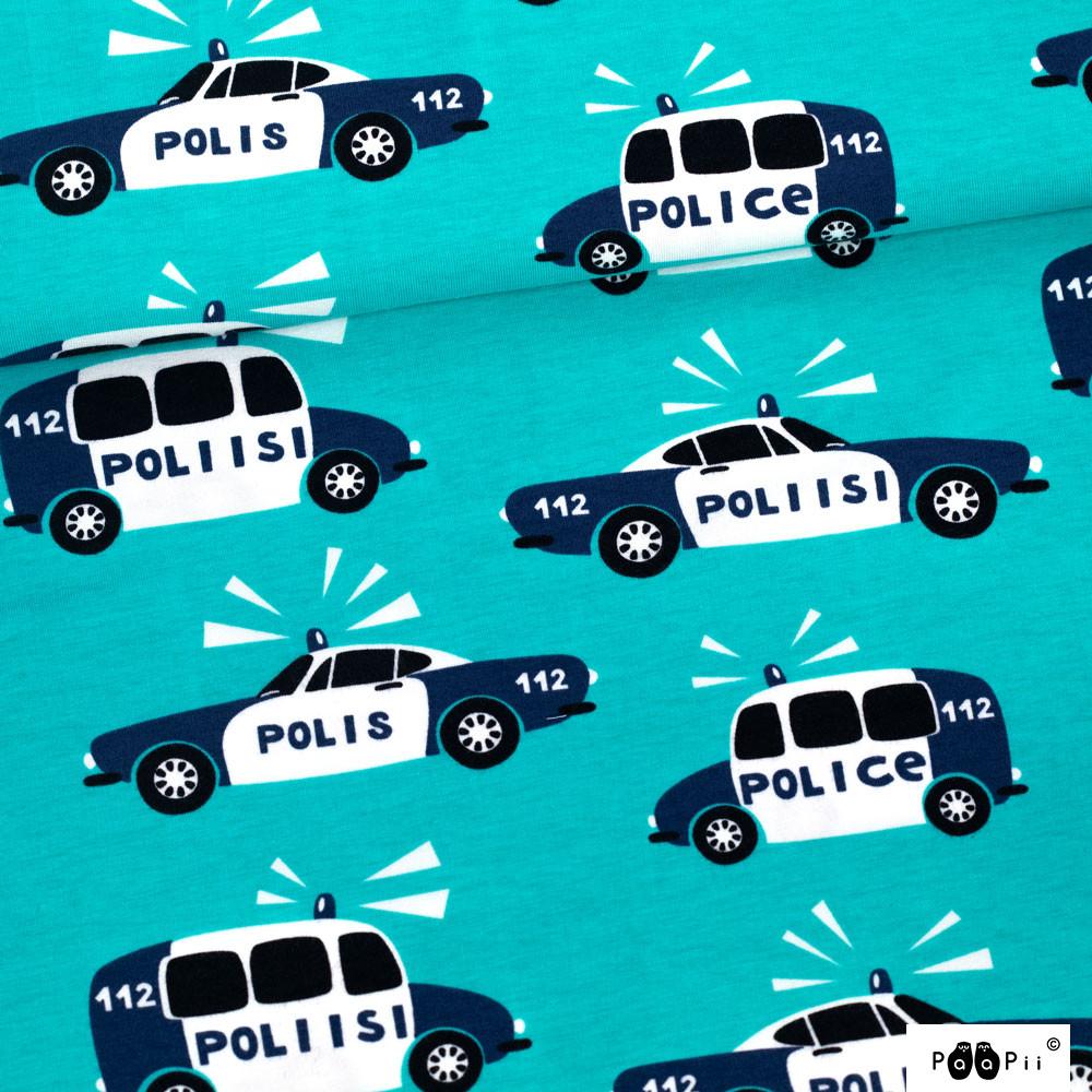 Poliisi trikoo, turkoosi - mustikka