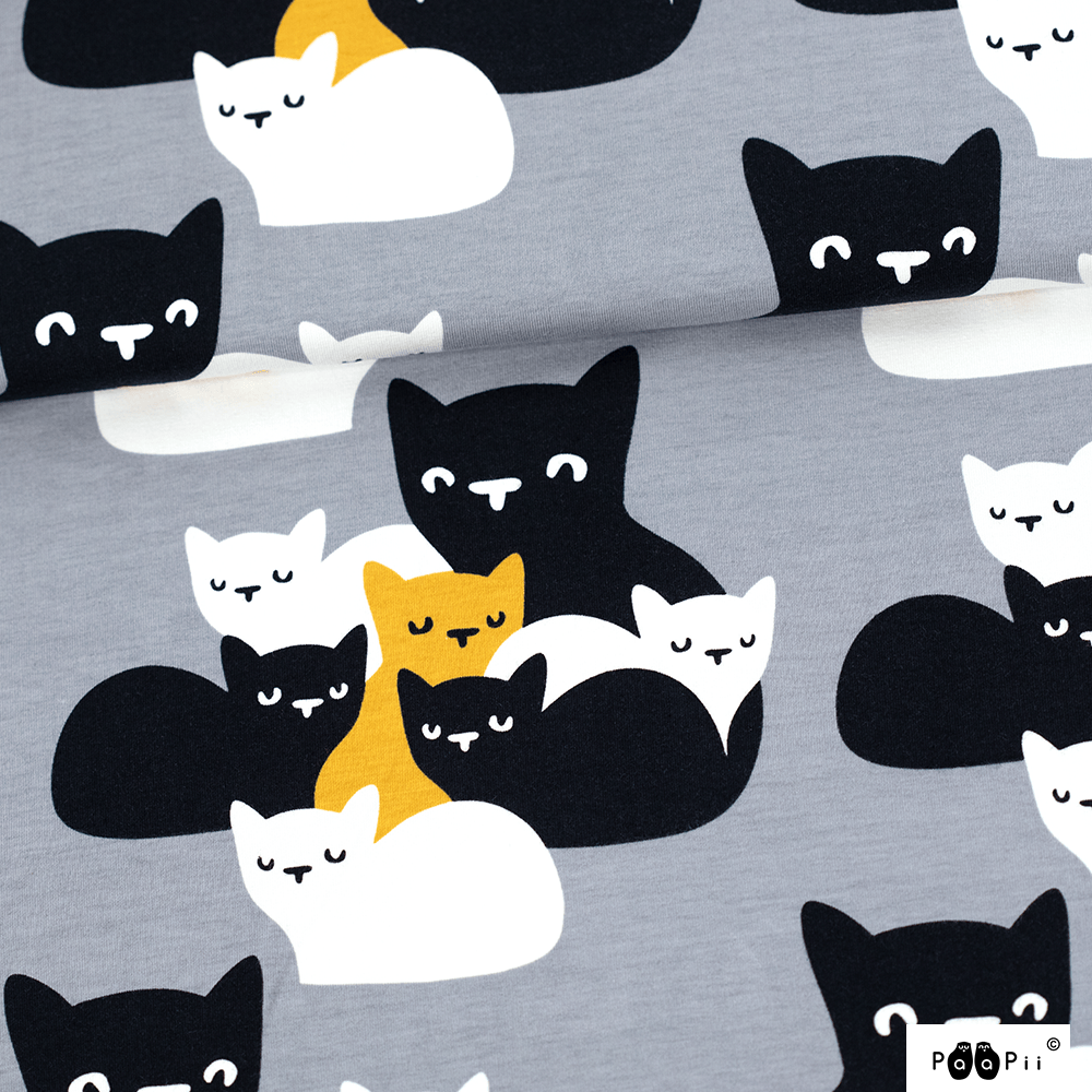 Kittens organic jersey, grey - ochre