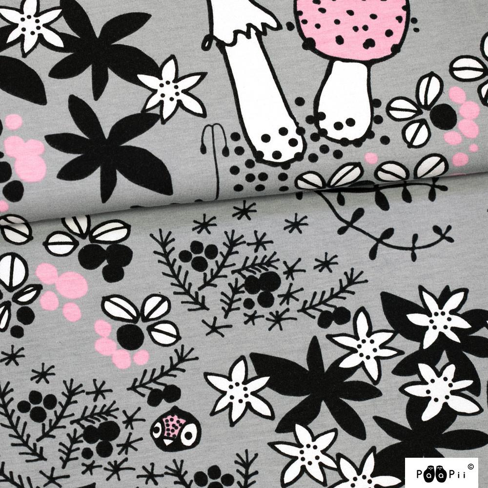 Sammalpolku trikoo, harmaa - vaaleanpunainen