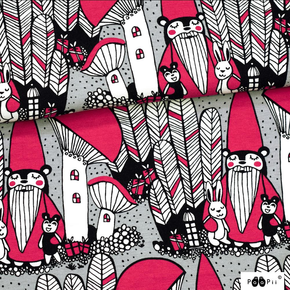 Joulumetsä trikoo, harmaa - punainen