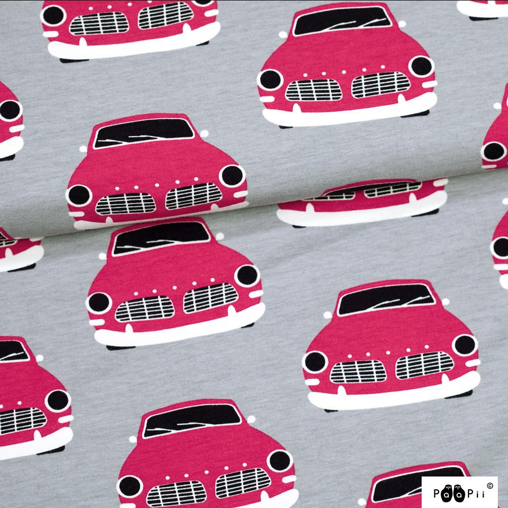 Vintage autot trikoo, harmaa - punainen