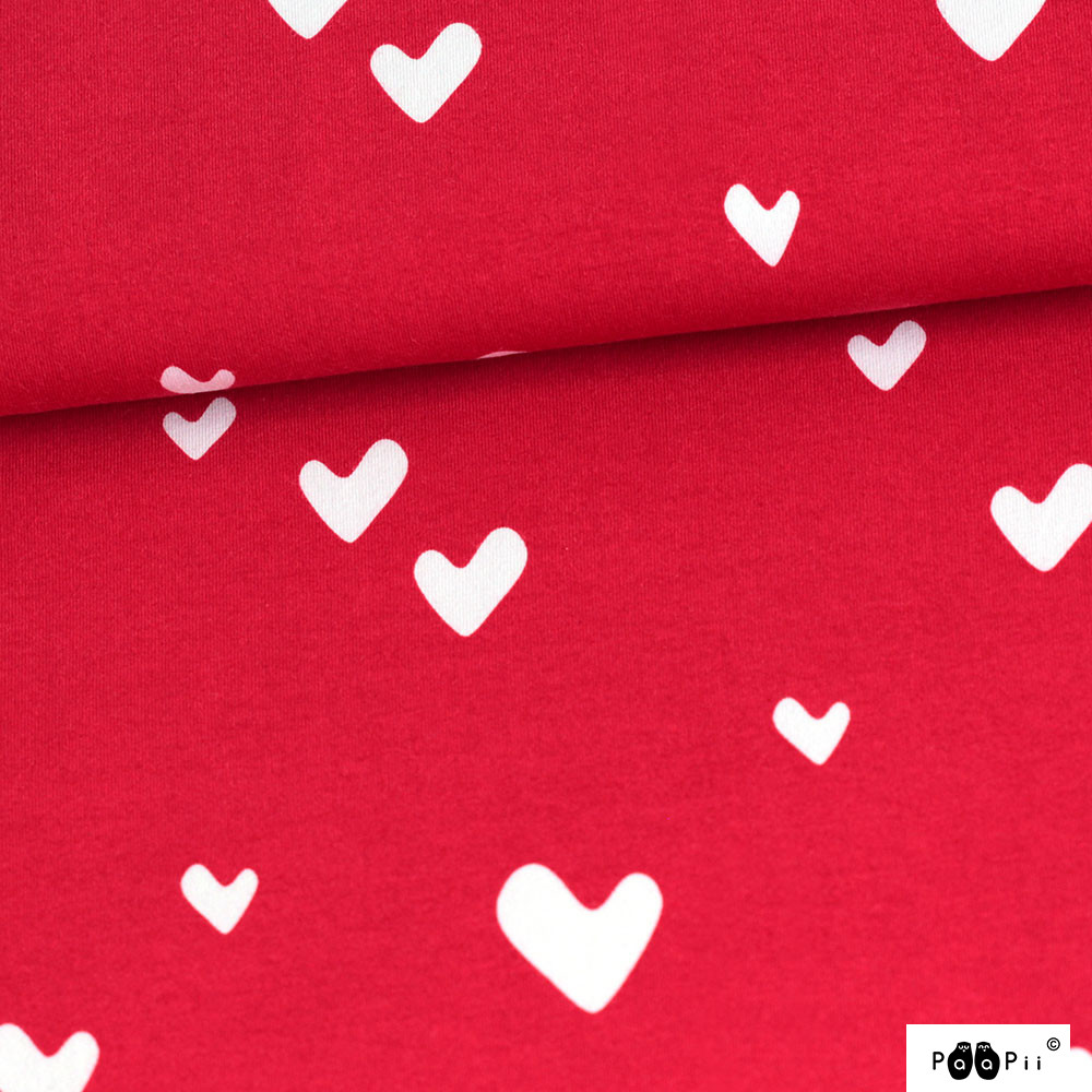 Hearts organic jersey, red