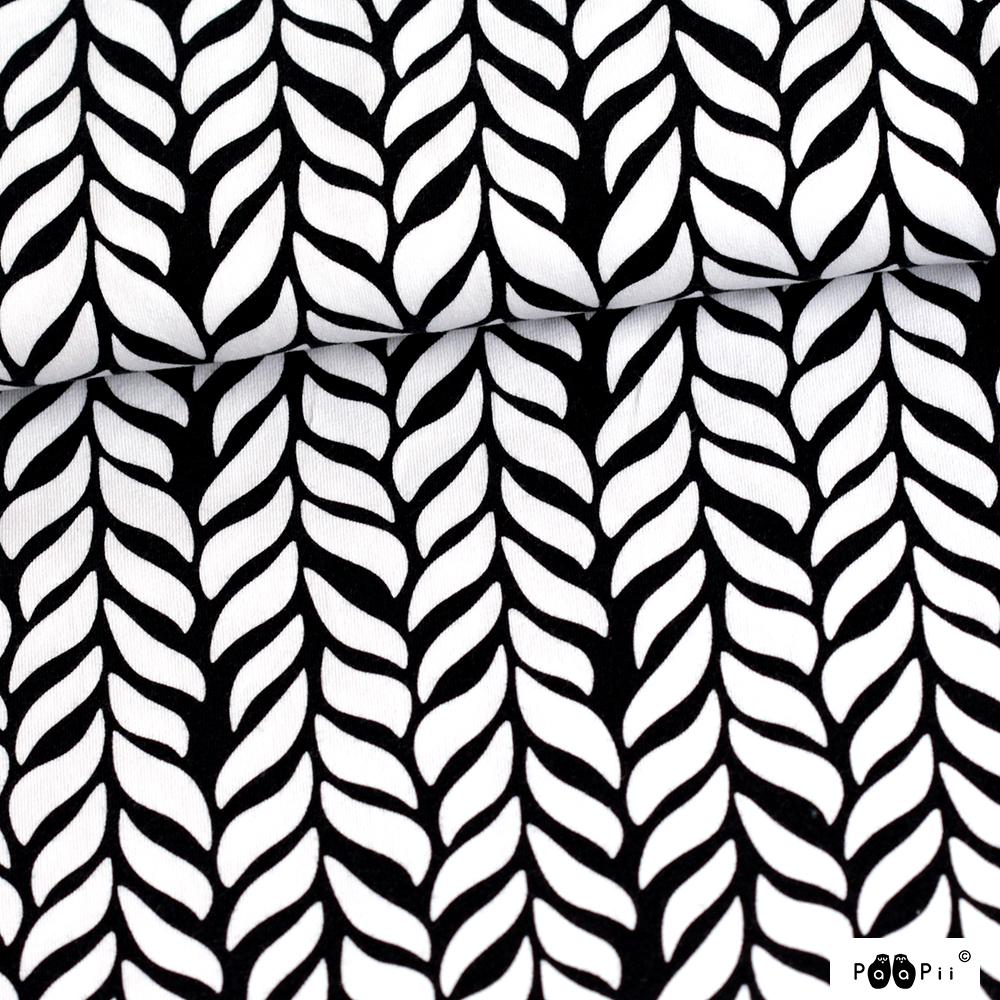 Palmikko trikoo, mustavalkoinen