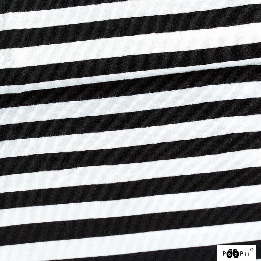 Raidallinen (10mm) trikoo, mustavalkoinen