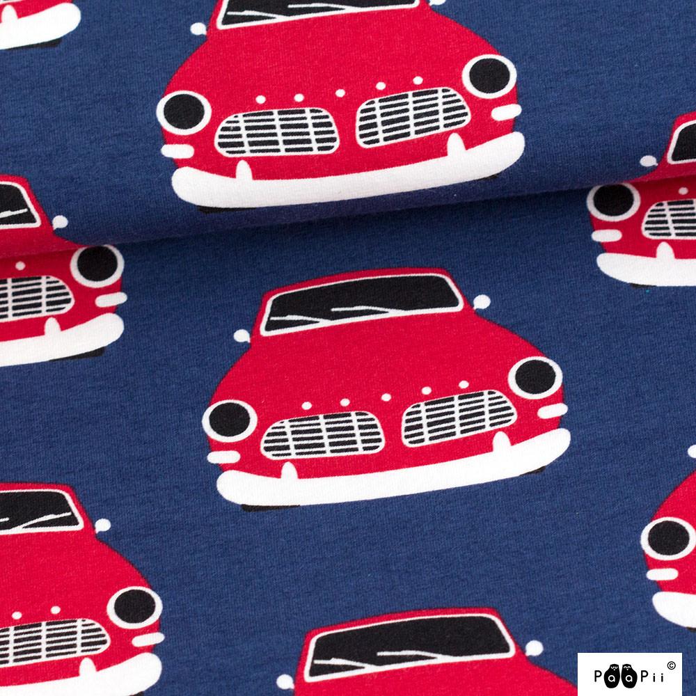 Vintage autot trikoo, mustikka - punainen