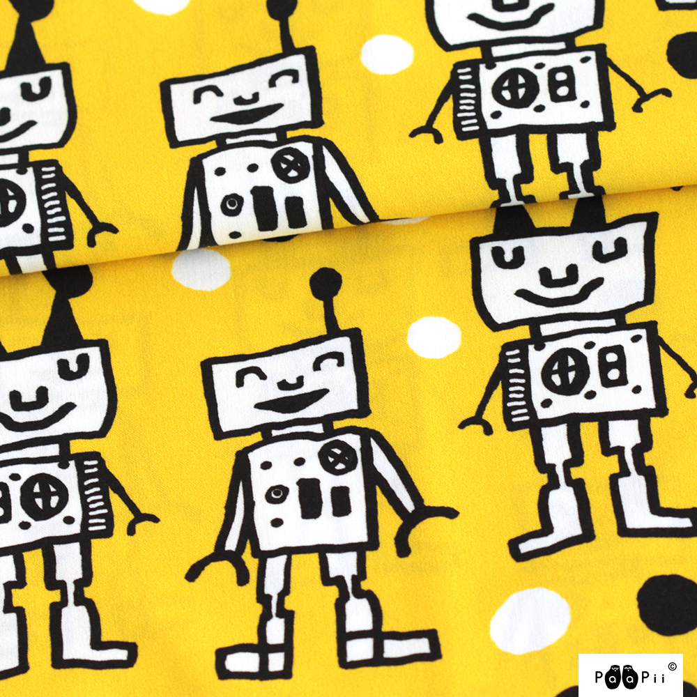 Happy Robots cotton, yellow
