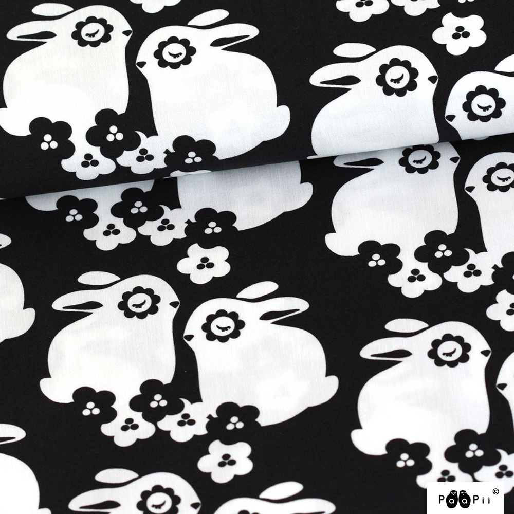 Flower bunnies cotton, black