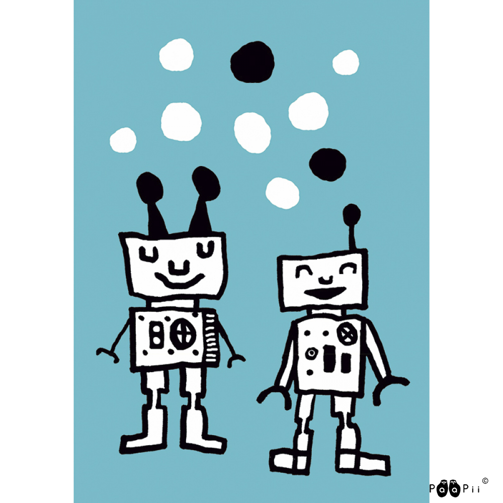 Postikortti,  Happy Robots