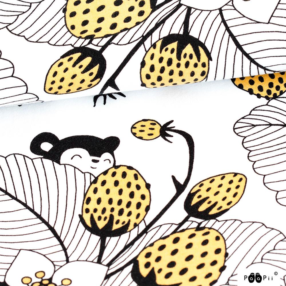 Myyryn mansikkapaikka trikoo, valkoinen - keltainen