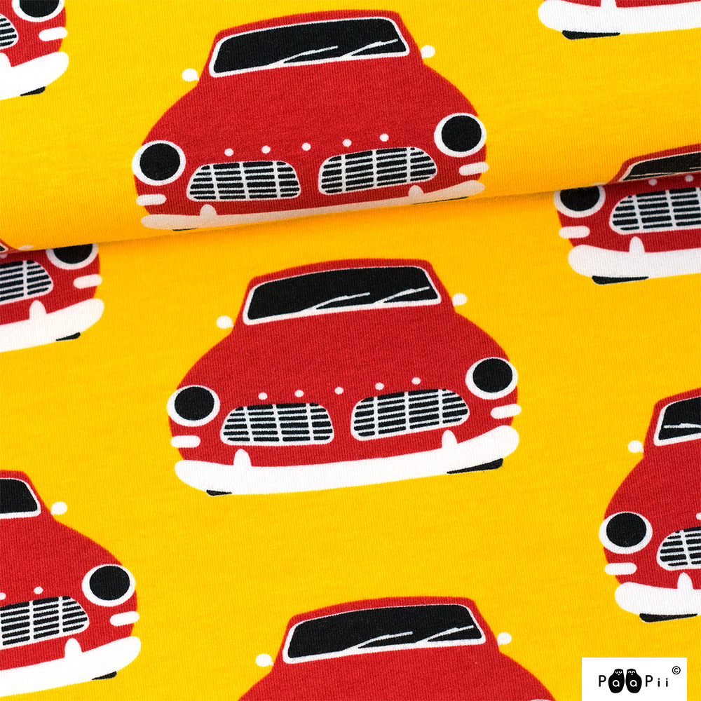 Vintage autot trikoo, aurinko - punainen