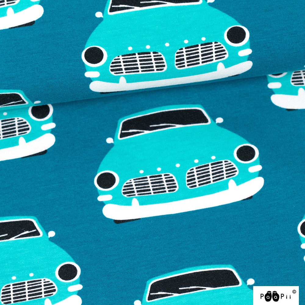 Vintage autot trikoo, petrooli - turkoosi