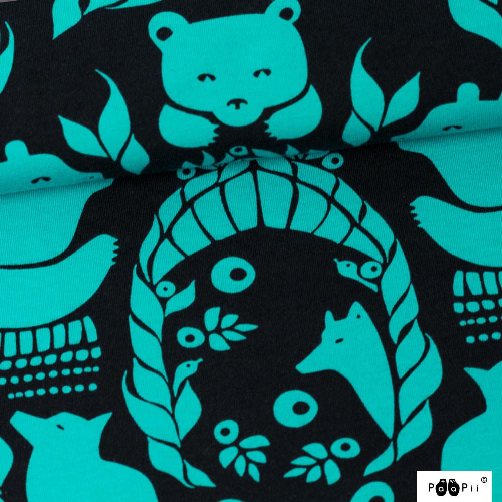 Gates of Pohjola organic jersey, black - turquoise