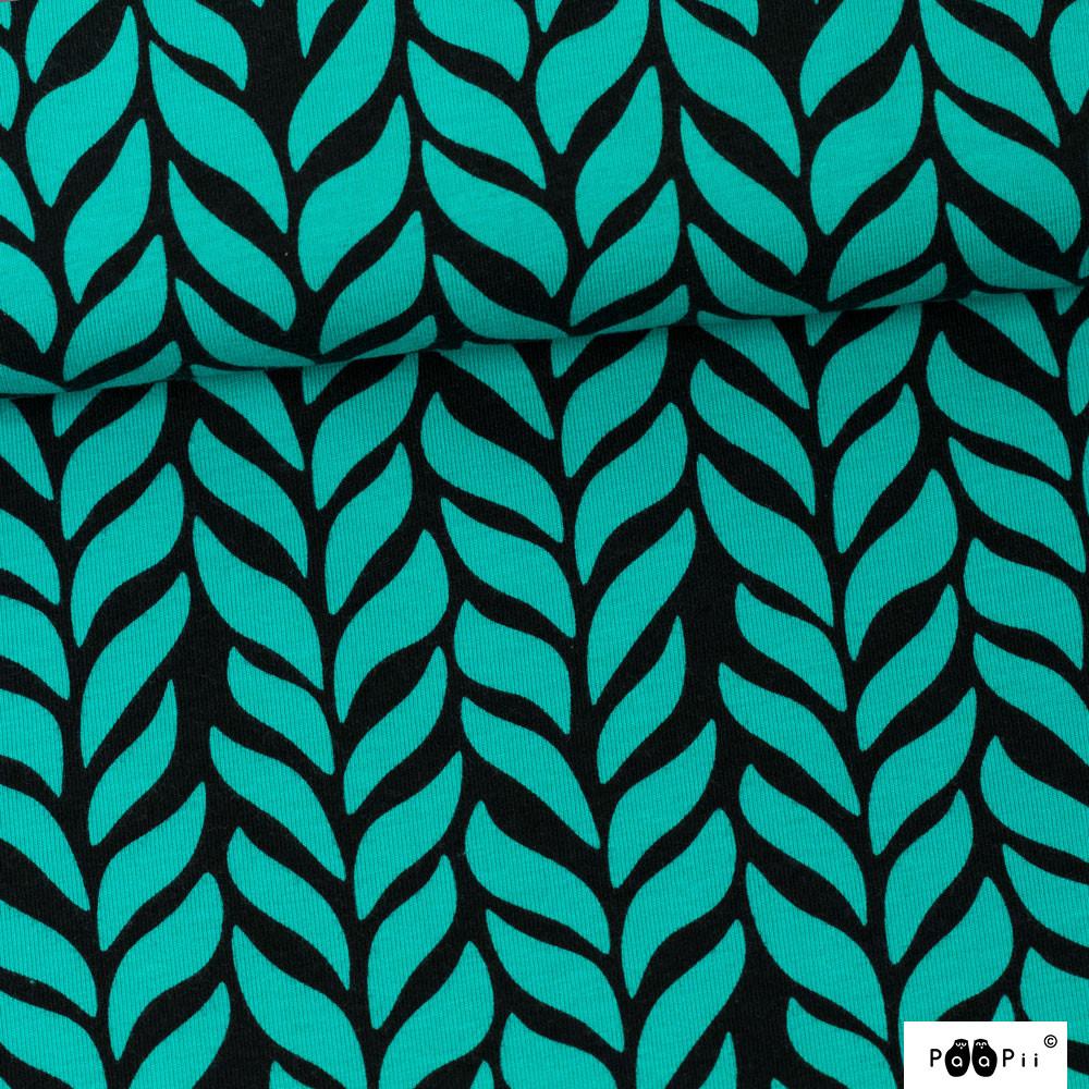 Palmikko trikoo, turkoosi - musta