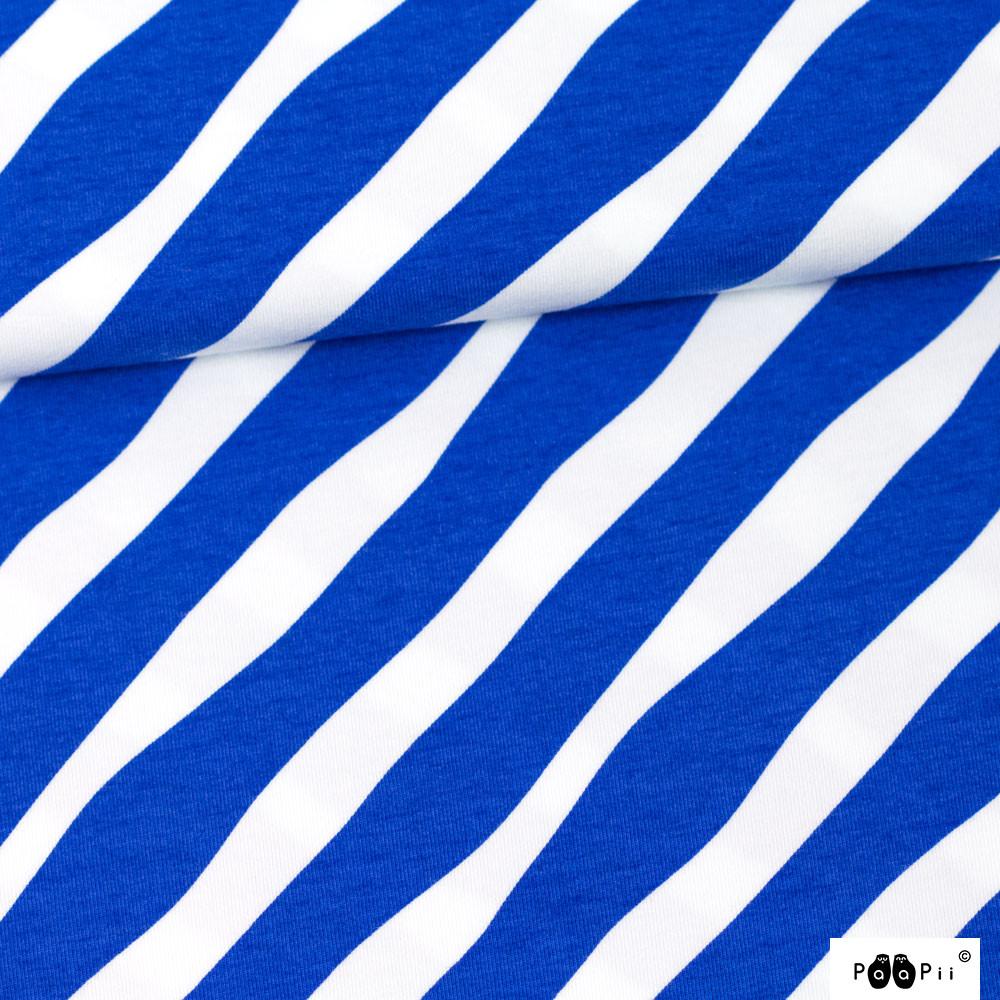 Diagonaali trikoo, sininen - valkoinen