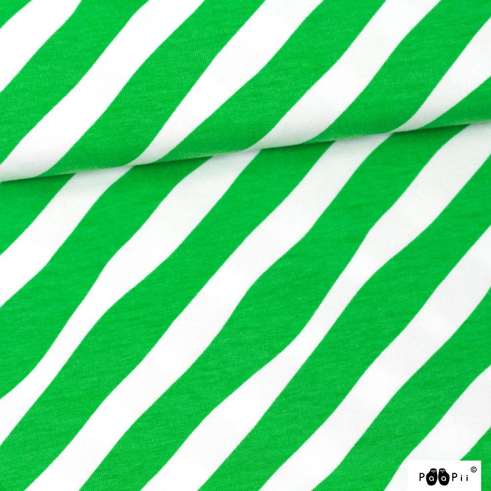 Diagonaali trikoo, vihreä - valkoinen