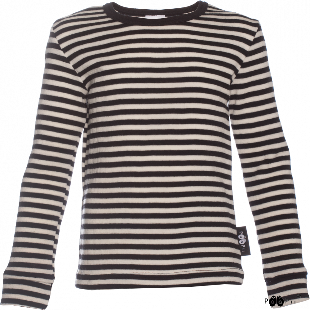 LOIMU paita - merinovilla, musta -  luonnonvalkoinen