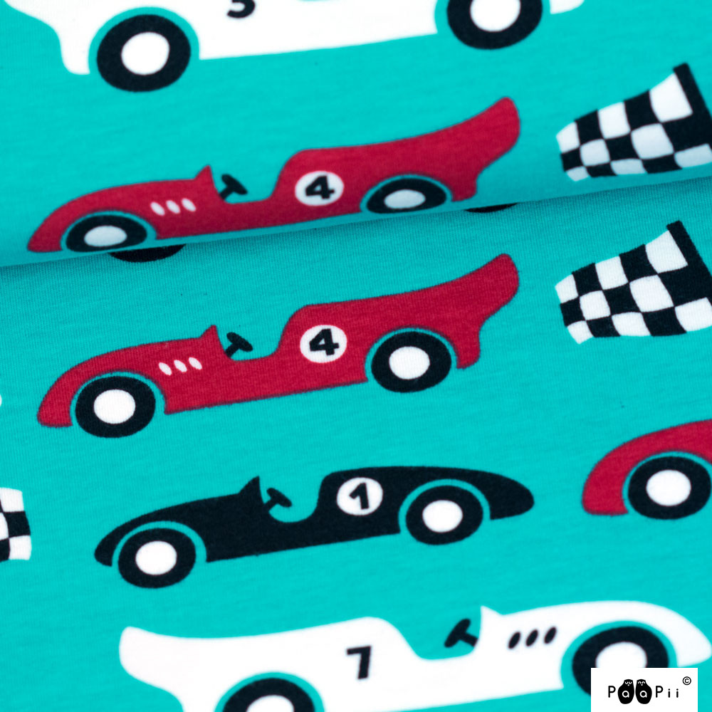 Race Cars organic sweatshirt knit, turquoise - red