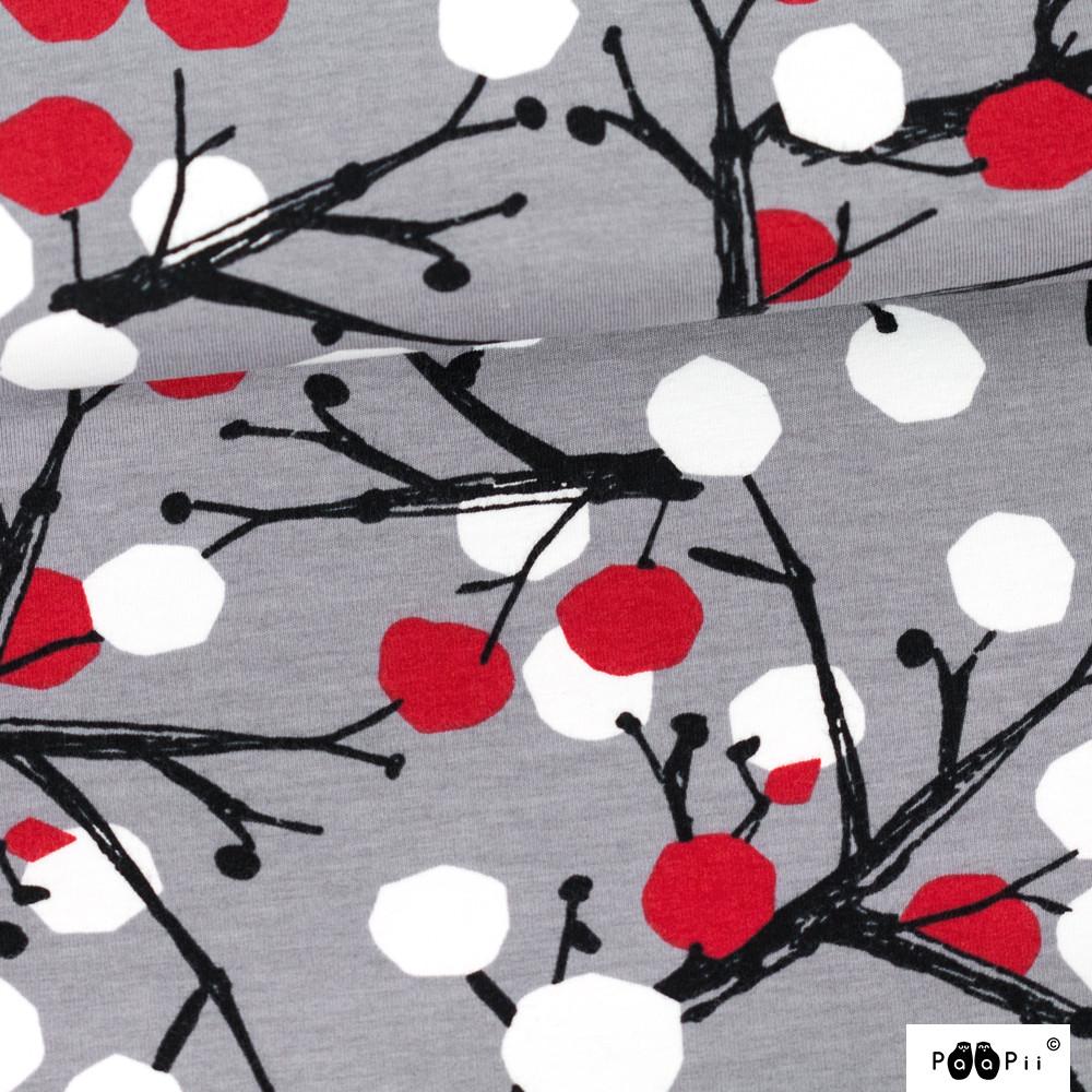 Marjapuu trikoo, harmaa - punainen