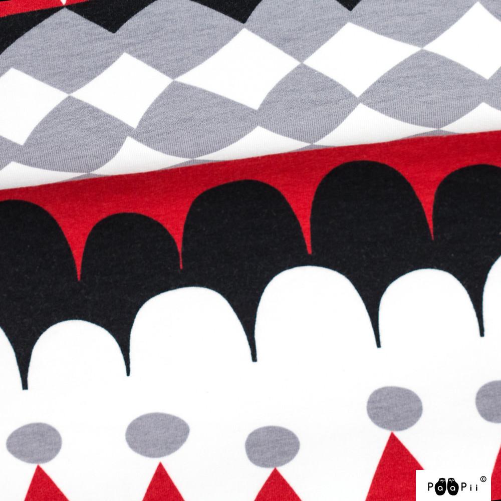Jussi organic sweatshirt knit, red - grey