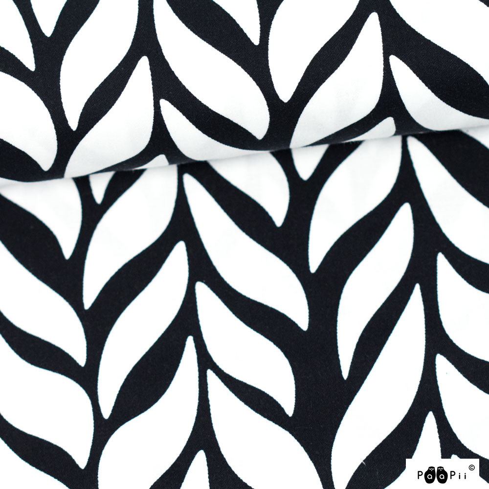 Plait organic cotton sateen, black & white