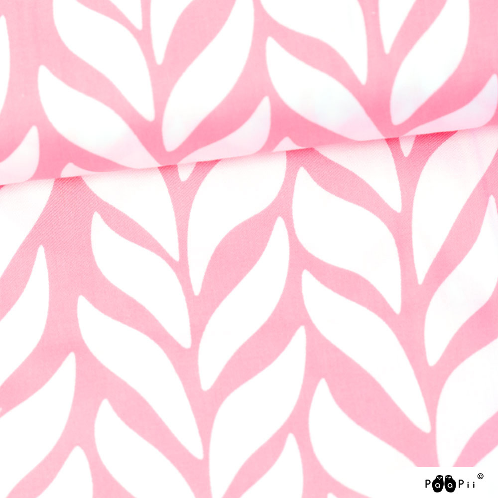 Palmikko puuvillasatiini, vaaleanpunainen