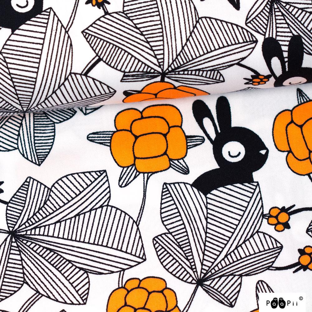 Hilda puuvillasatiini, valkoinen - oranssi