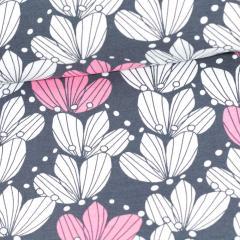 Bouquet organic jersey, dark grey - light pink
