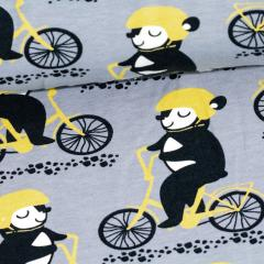 Into the Cyclist organic sweatshirt knit, grey - yellow