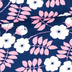 Midsummer rose organic jersey, blueberry - light pink