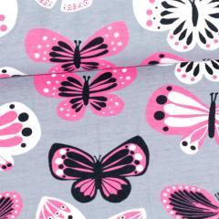 Butterflies organic jersey, grey - pink