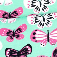 Butterflies organic jersey, mint - pink