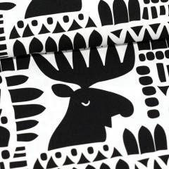 Moose cotton, black & white