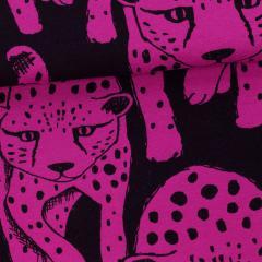 Cheetah organic sweatshirt knit, purple - black