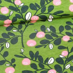 Varpu organic jersey, forest - light pink - dark green