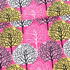 Vuodenajat trikoo, pinkki - keltainen - vaaleanpunainen