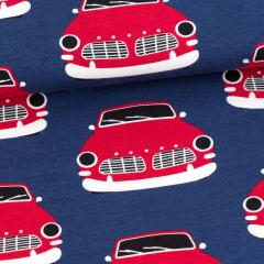Vintage cars organic jersey, blueberry - red