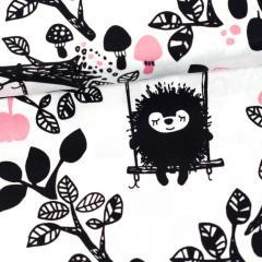 Siiri in the swing organic cotton sateen, white - light pink