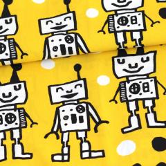 Happy Robots puuvilla, keltainen