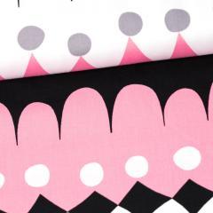 Jussi organic cotton sateen, grey - light pink
